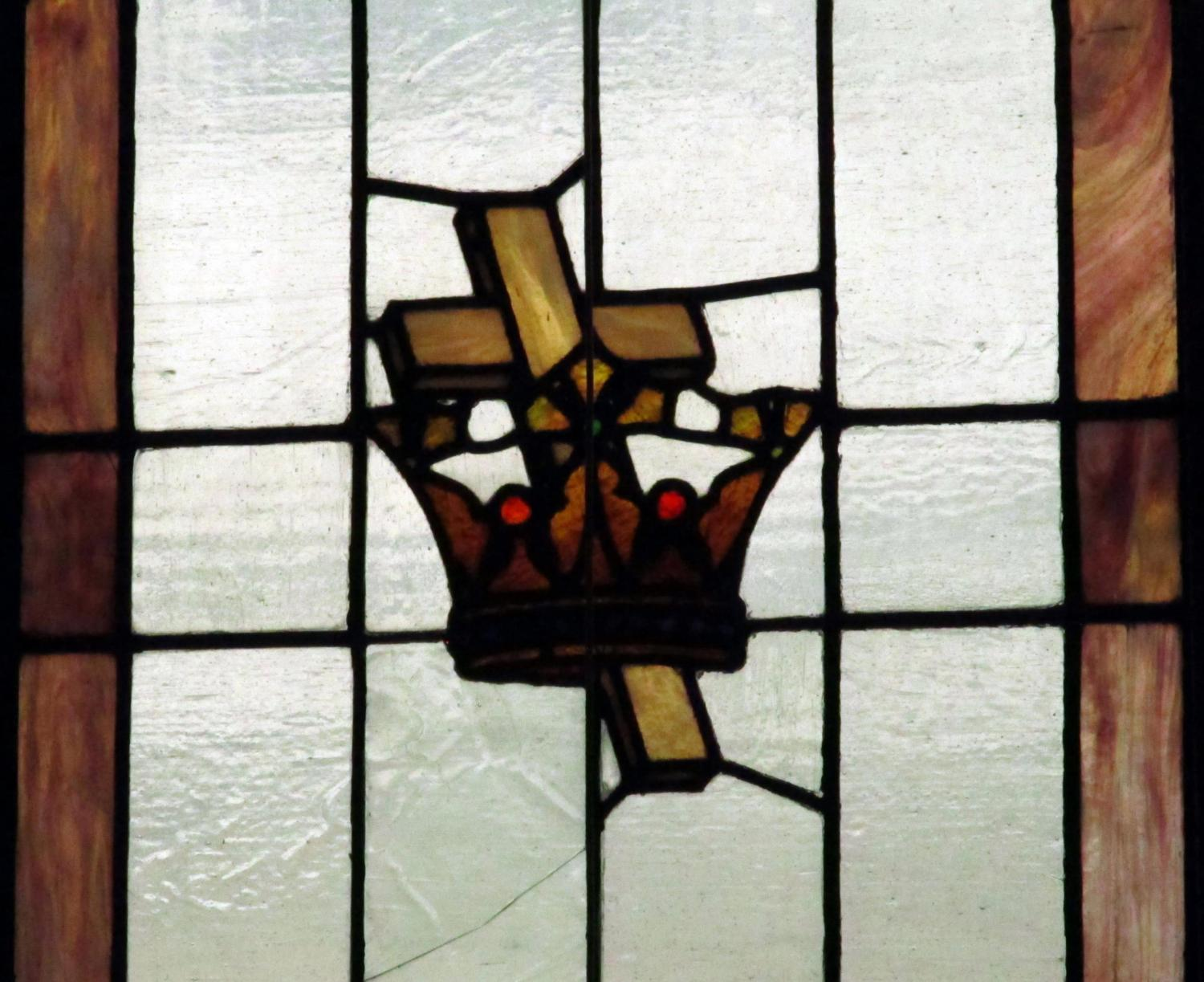 Cross, Crown, Stained Glass, Church, Sanctuary